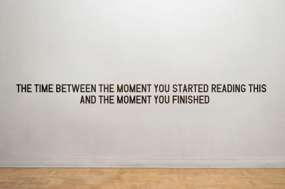 THE TIME BETWEEN THE MOMENT YOU STARTED READING THIS AND THE MOMENT YOU FINISHED