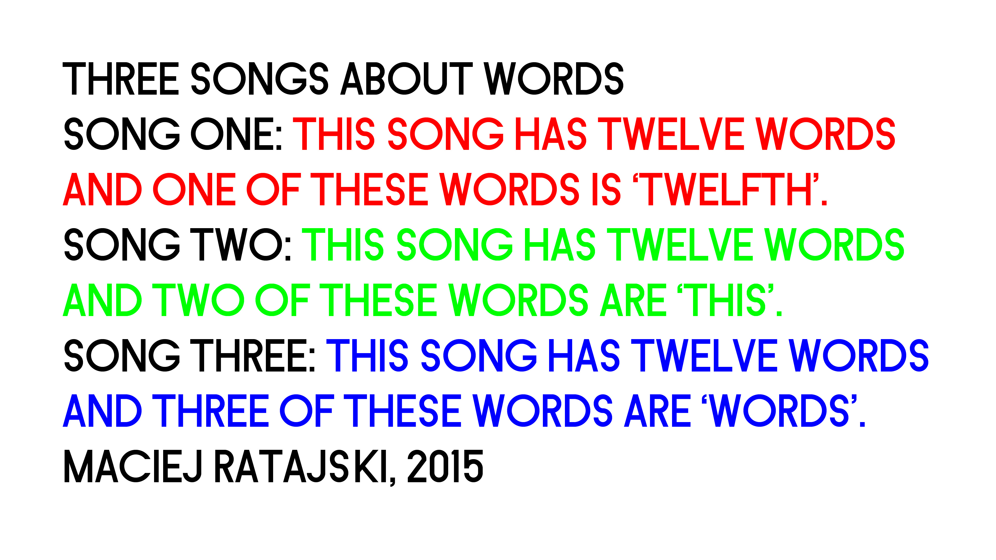 Three Songs About Words